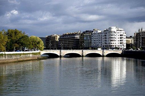 San Sebastian, River, Water, Bridge, Landscape