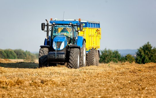 Tractor, Agriculture, Yellow, Field, Summer, Heaven