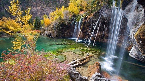 Hanging Lake Co, Waterfall, Lake, Tree, Aspen