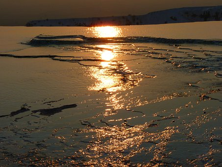 Pamukkale, Abendstimmung, Reflection, Backlighting