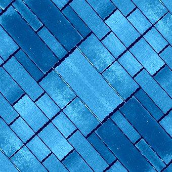 Blue, Stone, Pavers, Blocks, Brick, Diagonal, Shapes