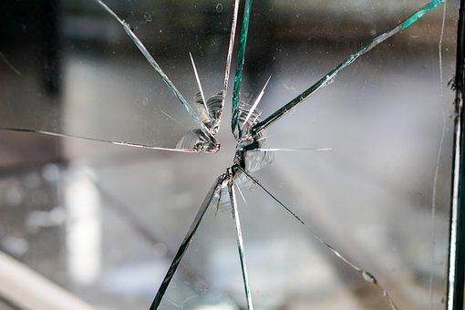 Glass, Broken, Fragmented, Hole, Crack, Disc, Window