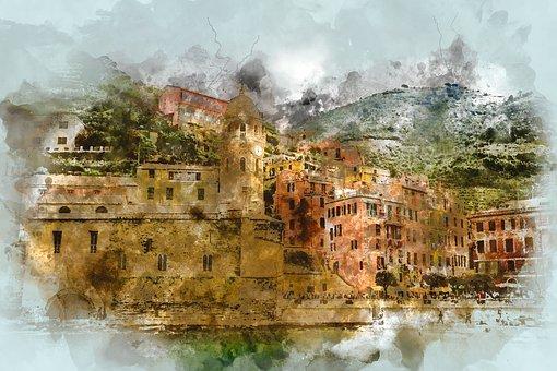 Cinque Terre, Italy, Beach, Amalfi Coast, Buildings