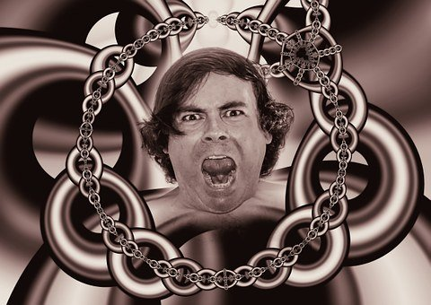 Chains, Caught, Psyche, Man, Patient, Cry, Suffering