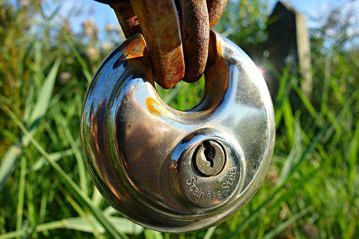 Lock, Padlock, Keyhole, Chain, Metal, Chrome, Shiny