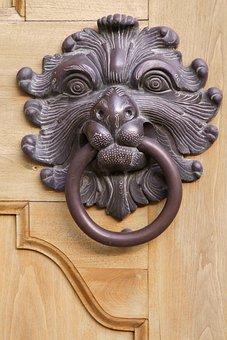 Lion Head, Doorknocker, Thumper, Metal, Door, Gate
