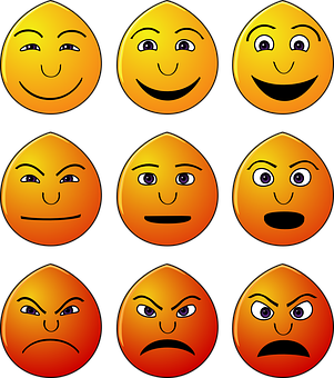 Emoticons, Emotions, Smilies, Faces, Yellow, Happy