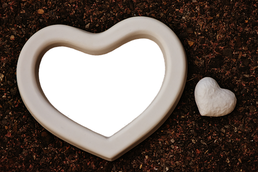 Heart, Gypsum, Blanks, Picture Frame, Unpainted, White