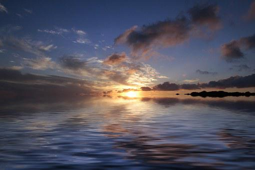 Sonenuntergang, Sundowner, Water, Mountains, Sunset