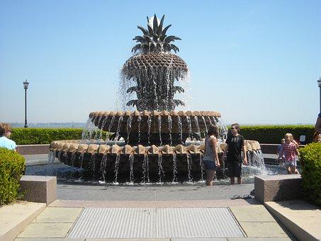 Pineapple, Fountain, Charleston, South, Carolina, Park