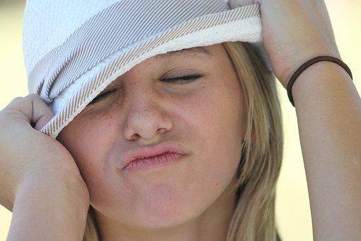 Girl, Face, Portrait, Hat, Close-up, Making A Face