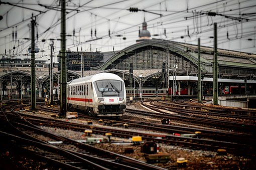 Railway Station, Cologne, Train, Railway, Ice, Seemed