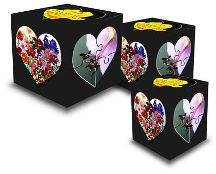 Cube, Hearts, Trio, Square, Black, Colour, Symbol