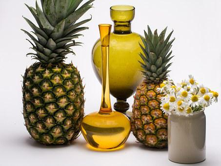Still Life, Fruits, Pineapple, Tropical Fruits, Flowers