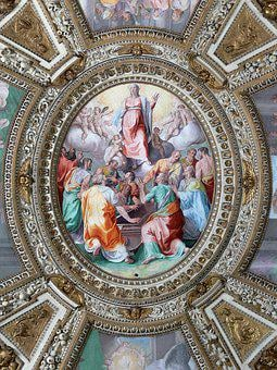 Italy, Rome, Basilica, Ceiling