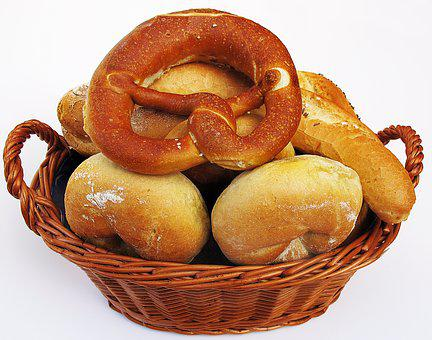 Roll, Salt Bar, Pretzel, Laugenbreze, Basket, Breakfast