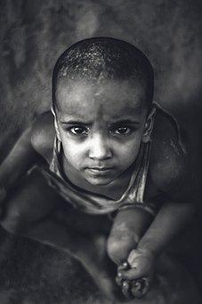Child, Portrait, Black And White, Kid, People, Happy
