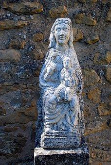 Romanesque, Virgin, Child, Statue, Figure, Art