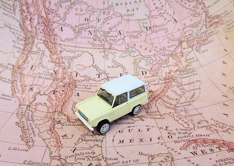 Map, Car, Toy, Road Trip, Ford Bronco, North America