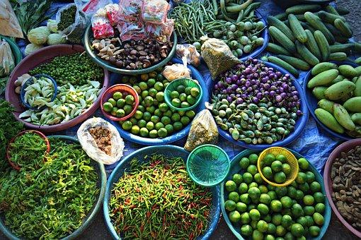 Tropical, Fruit, Vegetables, Thailand, Morning, Market