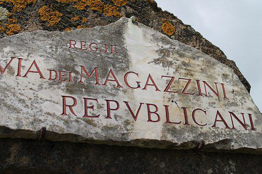 Ostia, Italy, History, Street, Sign