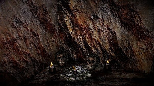 Cave, Stone, Candle, Skull, Skull And Crossbones
