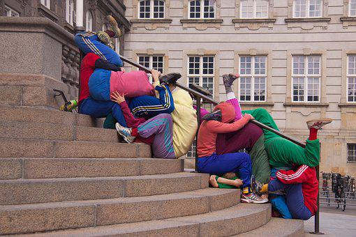People, Bunch, Stairs, Together, Colourful, Copenhagen