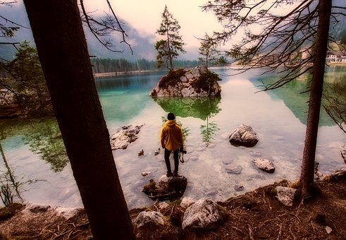 Austria, Lake, Water, Reflections, Man, Forest, Trees
