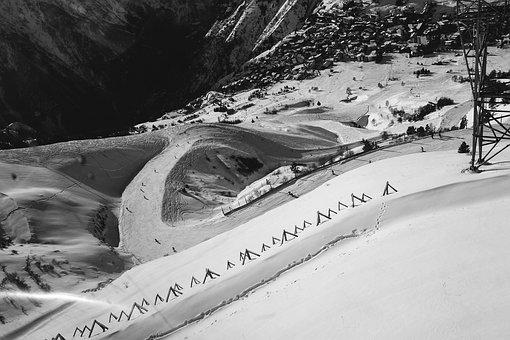 France, Winter, Snow, Black And White, Ski Slope
