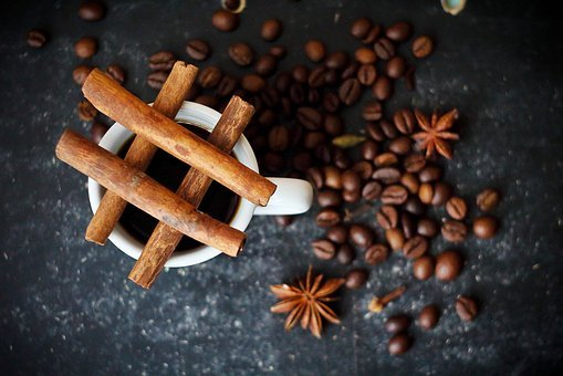 Coffee, Cinnamon, Closeup, Coffee Cup, Spices