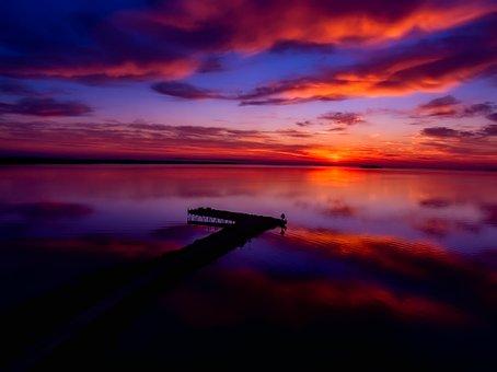 Lake Michigan, Water, Sky, Clouds, Sunset, Dusk, Pier