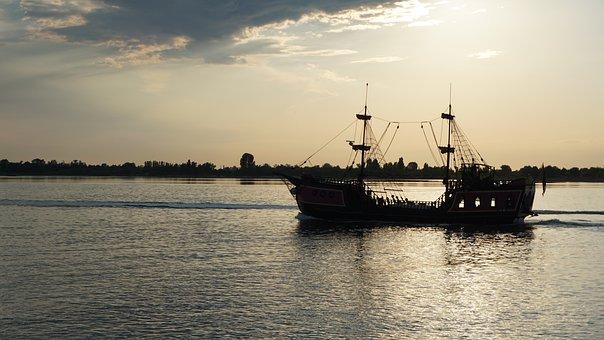 Sonenuntergang, Ship, Sea, Water, Evening Sun