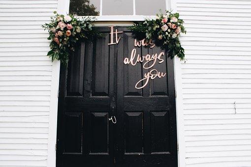Wedding, Love, Door, Flowers, Sign, Window, Marriage