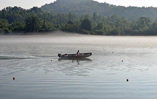 Boater In Fog, Early Morning, Dawn, Boater, Fog