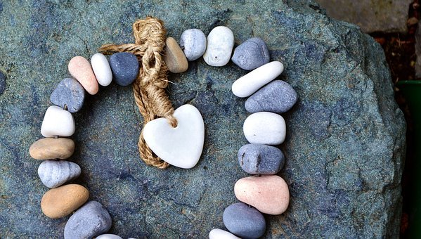 Stones, Chain, Heart, Cord, Love, Art, Gift, Stone