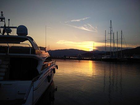 Genoa, Sunset, Porto, Sea, Marina, Ships, Ship, Horizon