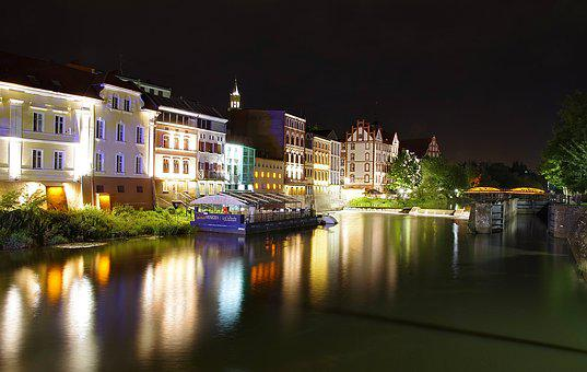 City, Night, Townhouses, Colors, Opole, Opole Venice