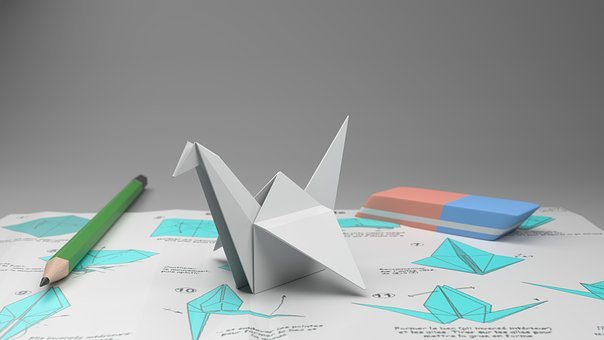Origami, Crane, Pencil To Paper, Rubber, Paper, Folding