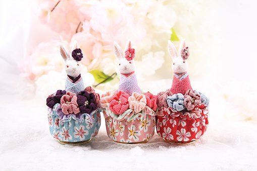 Music Box, Rabbit, Pink, Cherry Blossom, And, Japan