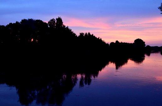 Sunset, River, Evening Sky, Water, Abendstimmung