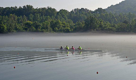 Scull Rowing In Fog, Early, Morning, Team, Rowing, Fog