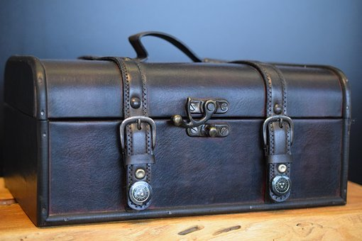 Luggage, Leather, Leather Suitcase, Utensils, Antique