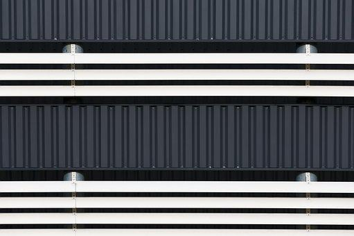 Background, Facade, Metal, Industrial, Notched, Grey