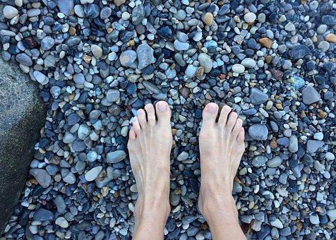 Feet, Barefoot, Beach, Shore, Rocks
