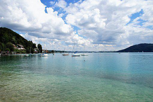 Attersee, Atterské Lake, Water, Net, Clear, Landscape