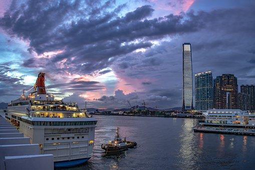 Hong Kong, Ship, Port, Evening, Mood, Sky, Skyscraper