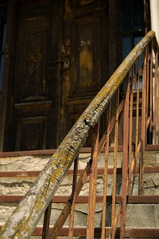 Old House, Wooden Handrail, Stairs, Old, Mossy