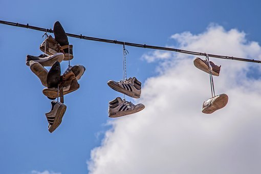 Shoe, Rope, Air, Clouds