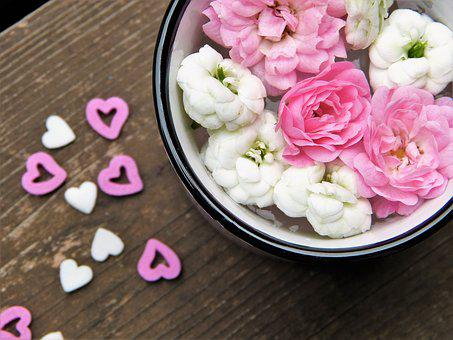 Flowers, Heart, Cup, Wood, Pink, White, Love