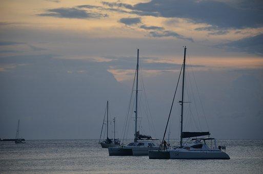Sea, Boats, Landscape, Sunset, Beach, Ship, Anchor